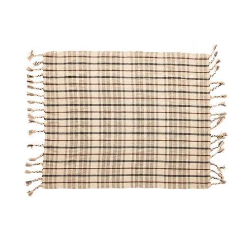 Woven Recycled Cotton Blend Plaid Throw with Tassels, Charcoal Color & Brown Default Title