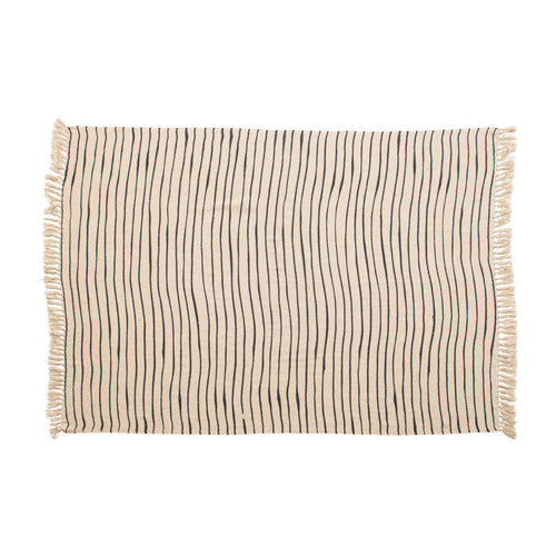 Woven Recycled Cotton Blend Throw with Stripes & Tassels, Black & Cream Color Default Title