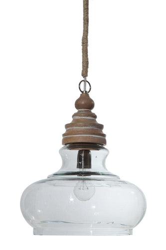 Glass & Mango Wood Pendant Light