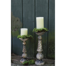 Load image into Gallery viewer, Small Distressed Black & Brown Turned Wood Pillar Candleholder