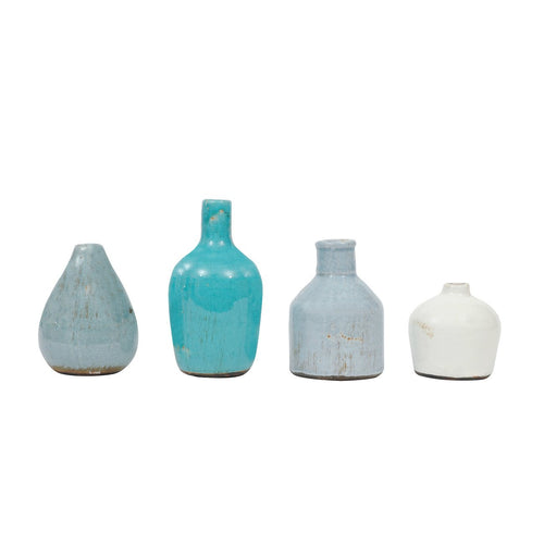 Blue & Ivory Terracotta Vases Set of 4 Sizes