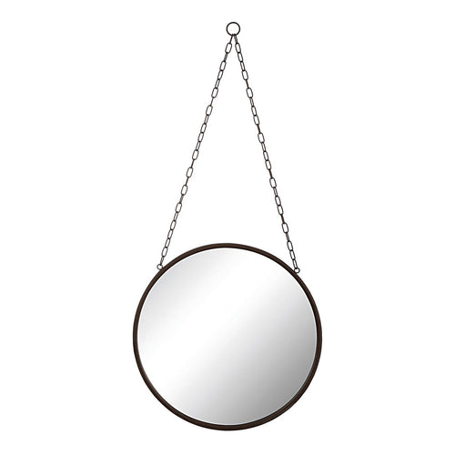 Round Metal Framed Mirror with Chain