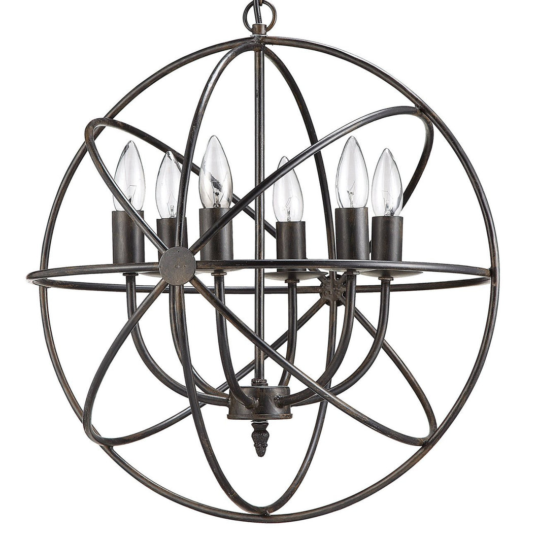 Orbital Metal Hanging Chandelier with 6 Lights