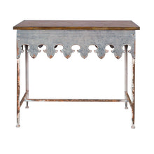 Load image into Gallery viewer, Metal Scalloped Edge Table with Zinc Finish and Wood Top