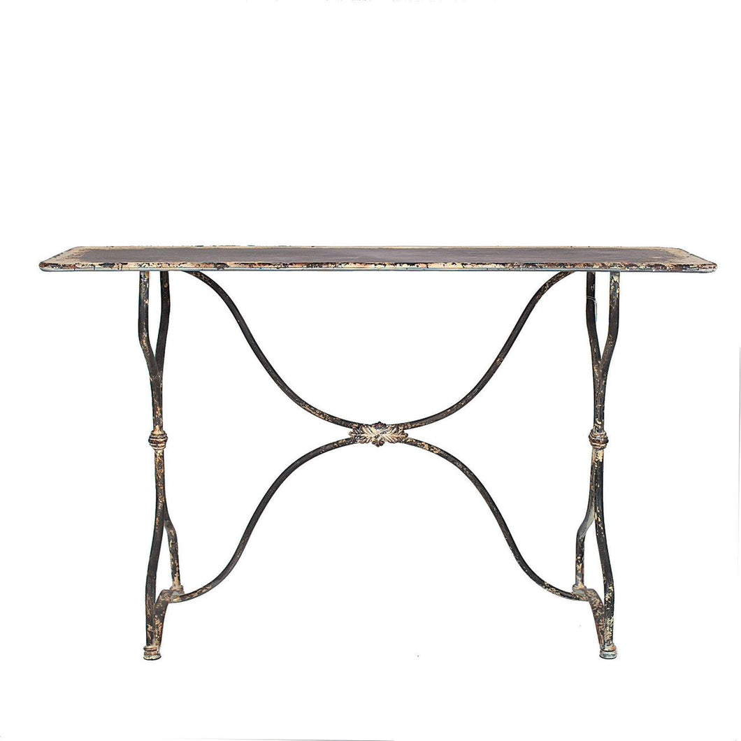 Distressed Black & White Metal Table
