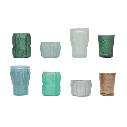 Set of 8 Mercury Glass Votive Holders in Blues and Greens