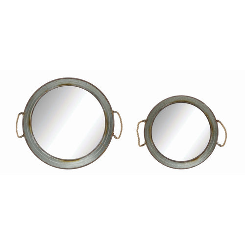 Round Metal Framed Wall Mirrors with Rope Handles Set of 2 Sizes