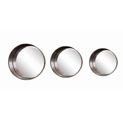 Round Metal Framed Mirrors Set of 3 Sizes