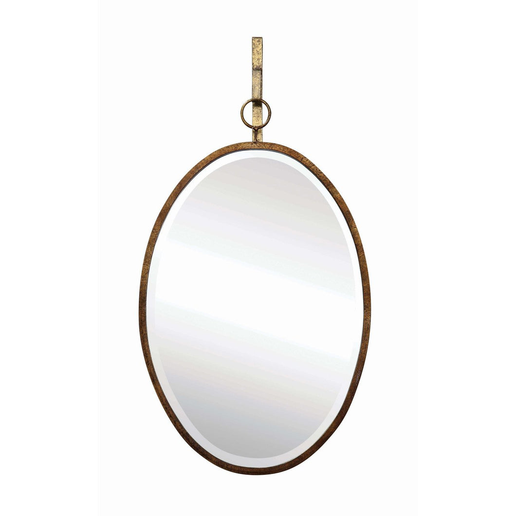 Oval Wall Mirror with Distressed Metal Frame & Hanging Bracket Set of 2 Pieces