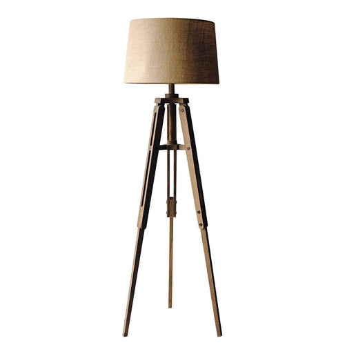 Mariner Tripod Style Wood Floor Lamp with Burlap Drum Shade