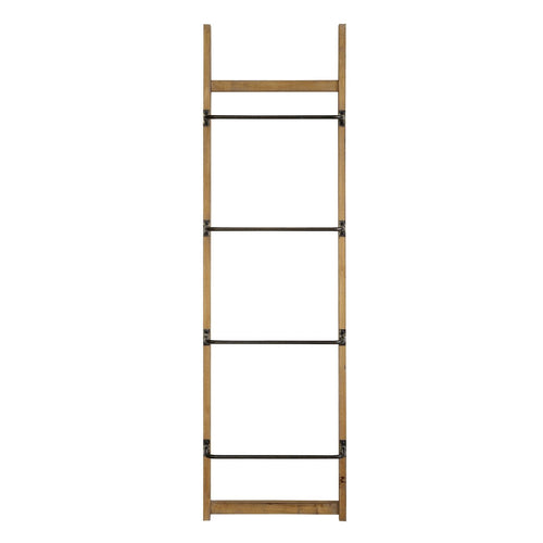 70.75H Fir Wood Wall Rack with 4 Metal Bars