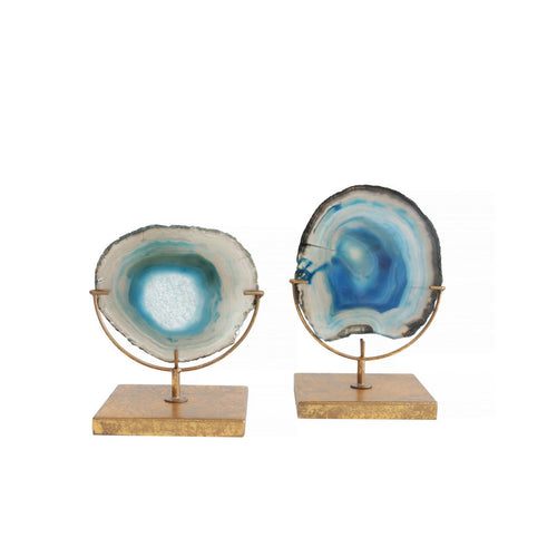 Decorative Agate Stone Slice on Metal Stand