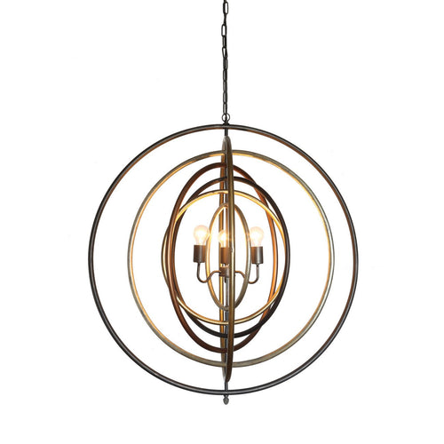 Metal Multi-Ringed Pendant Light