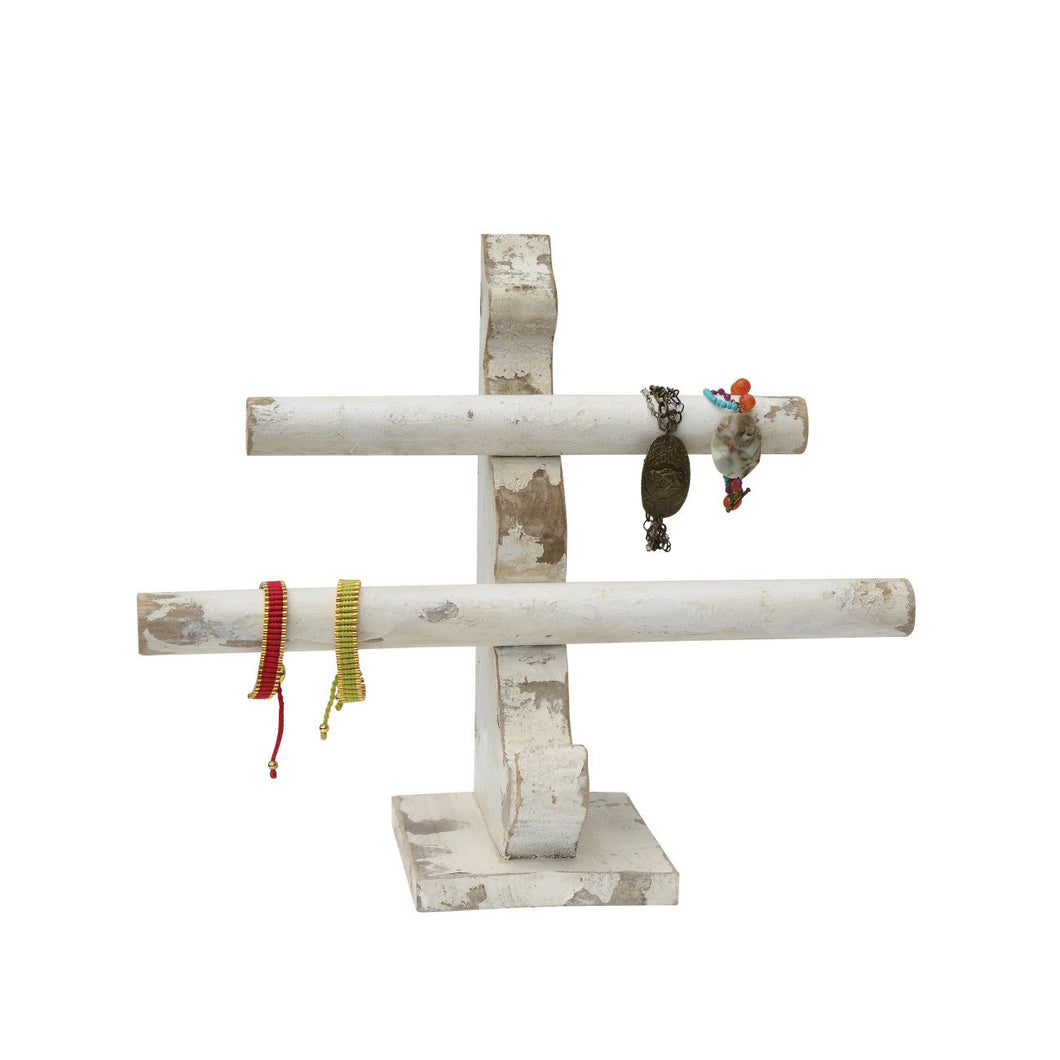 Wood Jewelry Holder with 2 Bars & Distressed White Finish