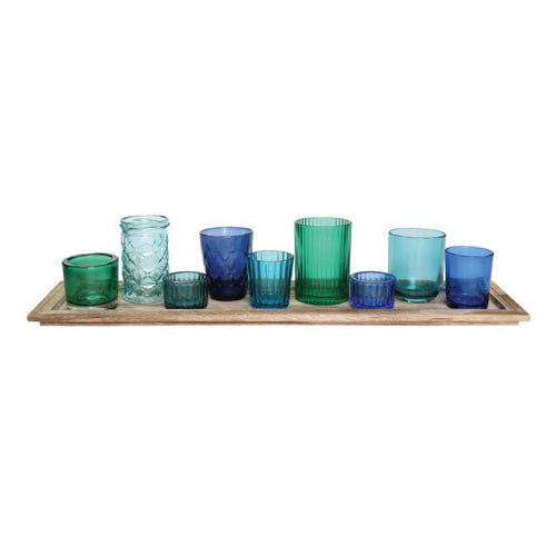 Wood Tray with 9 Blue & Green Glass Votive Holders Set of 10 Pieces