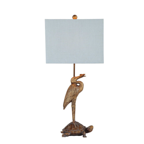 Gold Resin Stork & Turtle Table Lamp with Blue Linen Shade