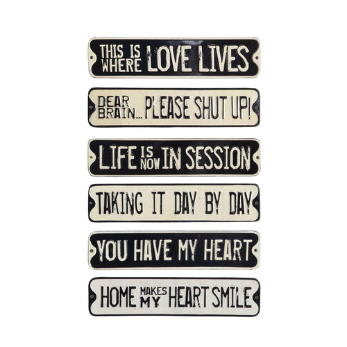 Embossed Tin Wall Décor with Saying (Set of 6 Styles) Default Title