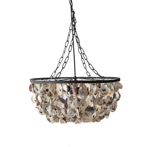 Round Oyster Shell Chandelier with 2 Lights