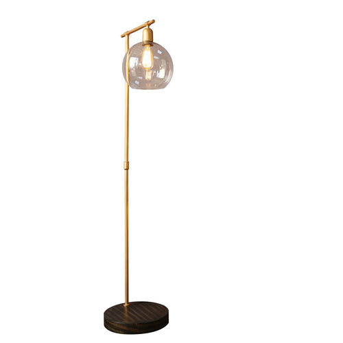 Metal & Wood Floor Lamp with Gold Finish and Glass Globe Shade
