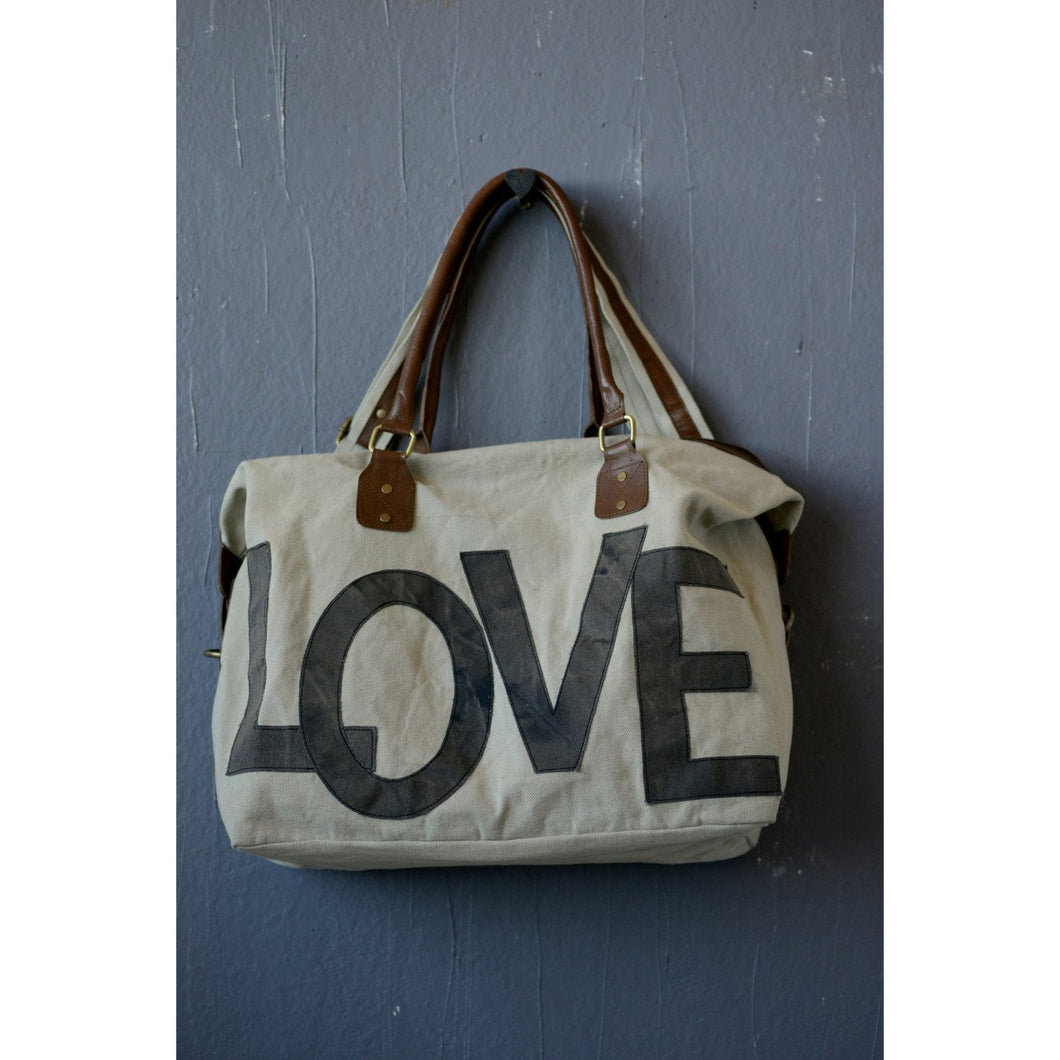 Canvas Love Tote with Leather Handle and Adjustable Strap