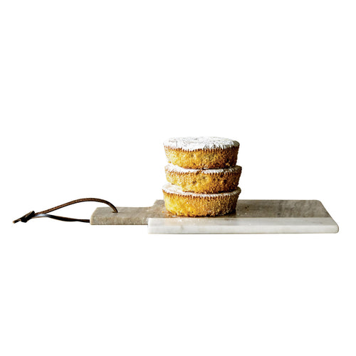 Grey & White Rectangle Marble Cheese Board with Leather Tie Default Title
