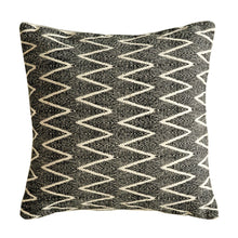 Load image into Gallery viewer, Square Cotton Black & White Pillow with Zig Zag Design