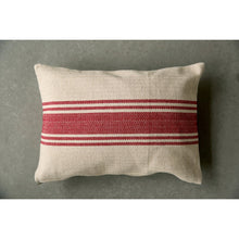 Load image into Gallery viewer, Cream Cotton Canvas Pillow with Red Stripes