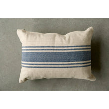 Load image into Gallery viewer, Cream Cotton Canvas Pillow with Blue Stripes