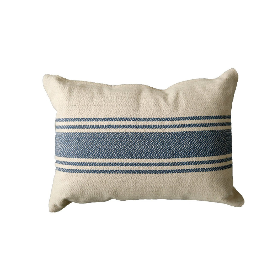 Cream Cotton Canvas Pillow with Blue Stripes