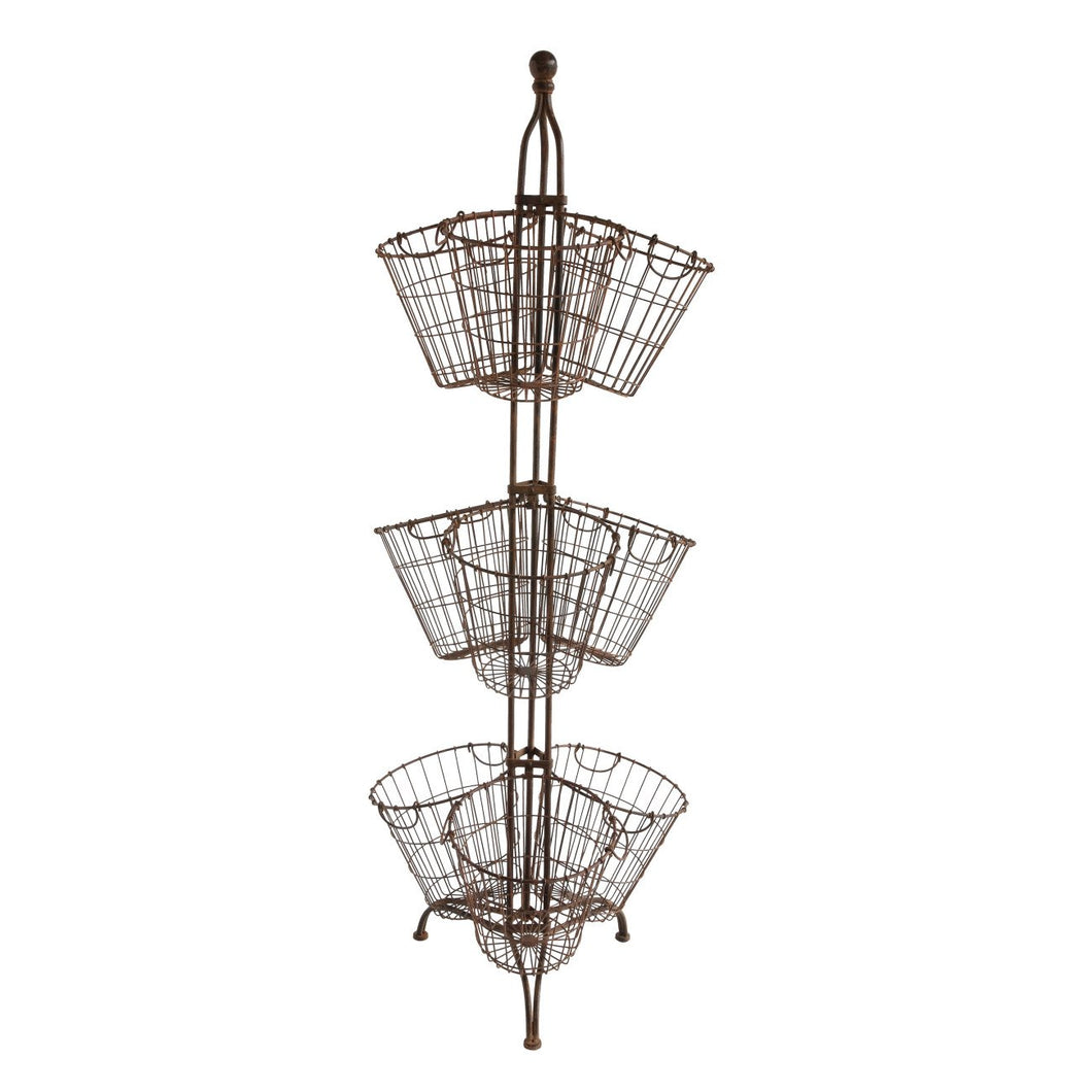Tall Metal Stand with 9 Wire Baskets