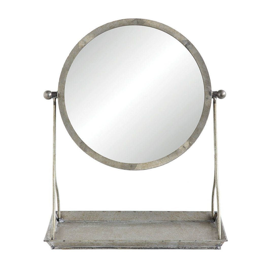 Round Tilt Mirror on Metal Stand with Tray