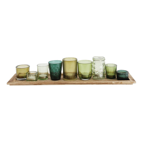Wood Tray with 9 Green Glass Votive Holders Set of 10 Pieces