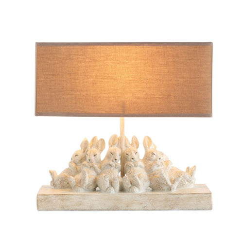 Resin Rabbit Table Lamp with Rectangle Sand Color Linen Shade