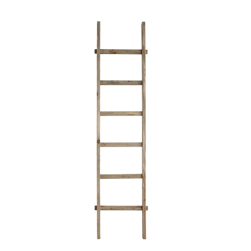 Rustic 76.75H Decorative Fir Wood Ladder with 6 Rungs