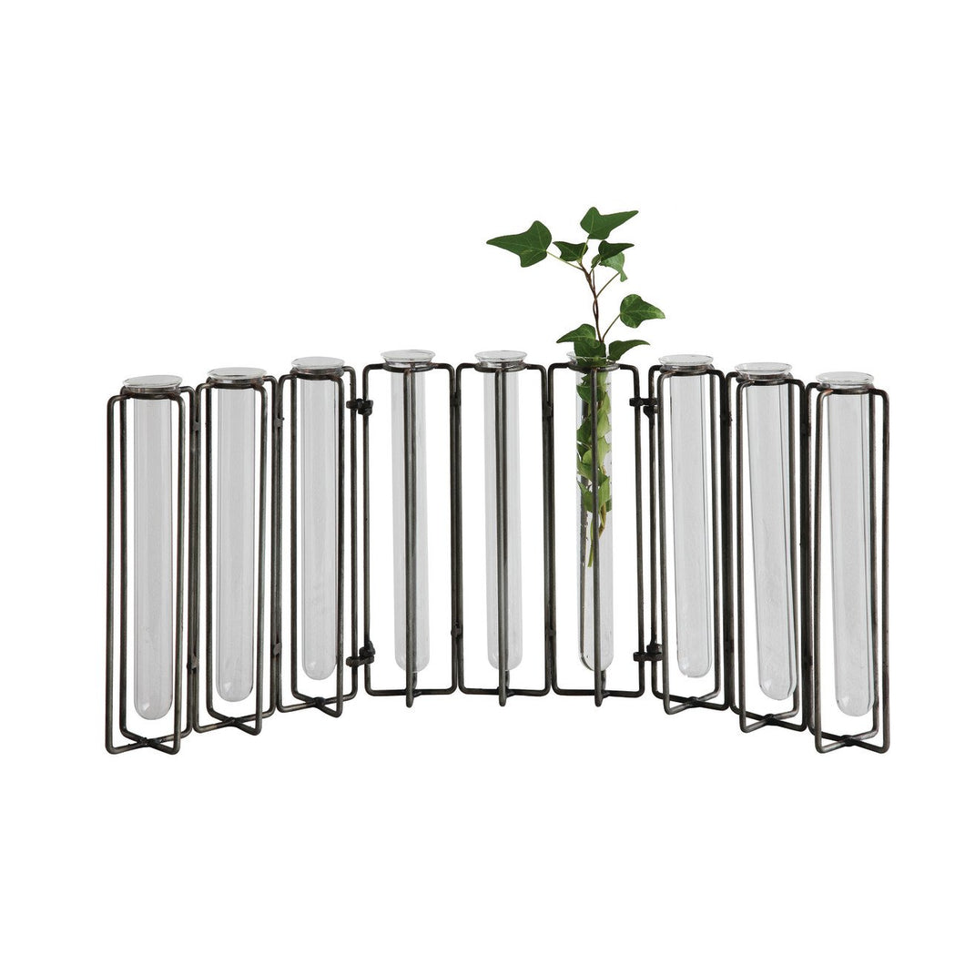 9 Test Tube Glass Vases in Black Metal Stand