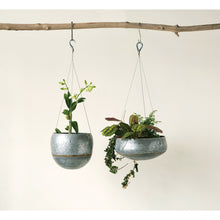 Load image into Gallery viewer, Grey & Gold Hanging Iron Planter