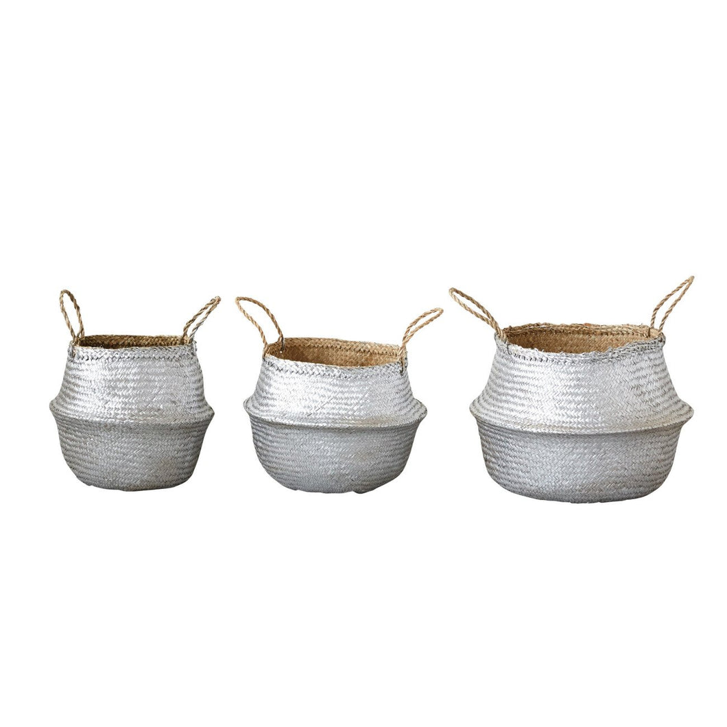 Set of 3 Silver Collapsible Seagrass Baskets with Handles