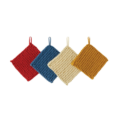 Square Cotton Crocheted Pot Holders (Set of 4 Colors) Default Title