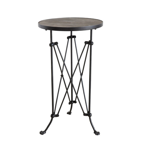 Round Pine Wood Accent Table with Metal Frame