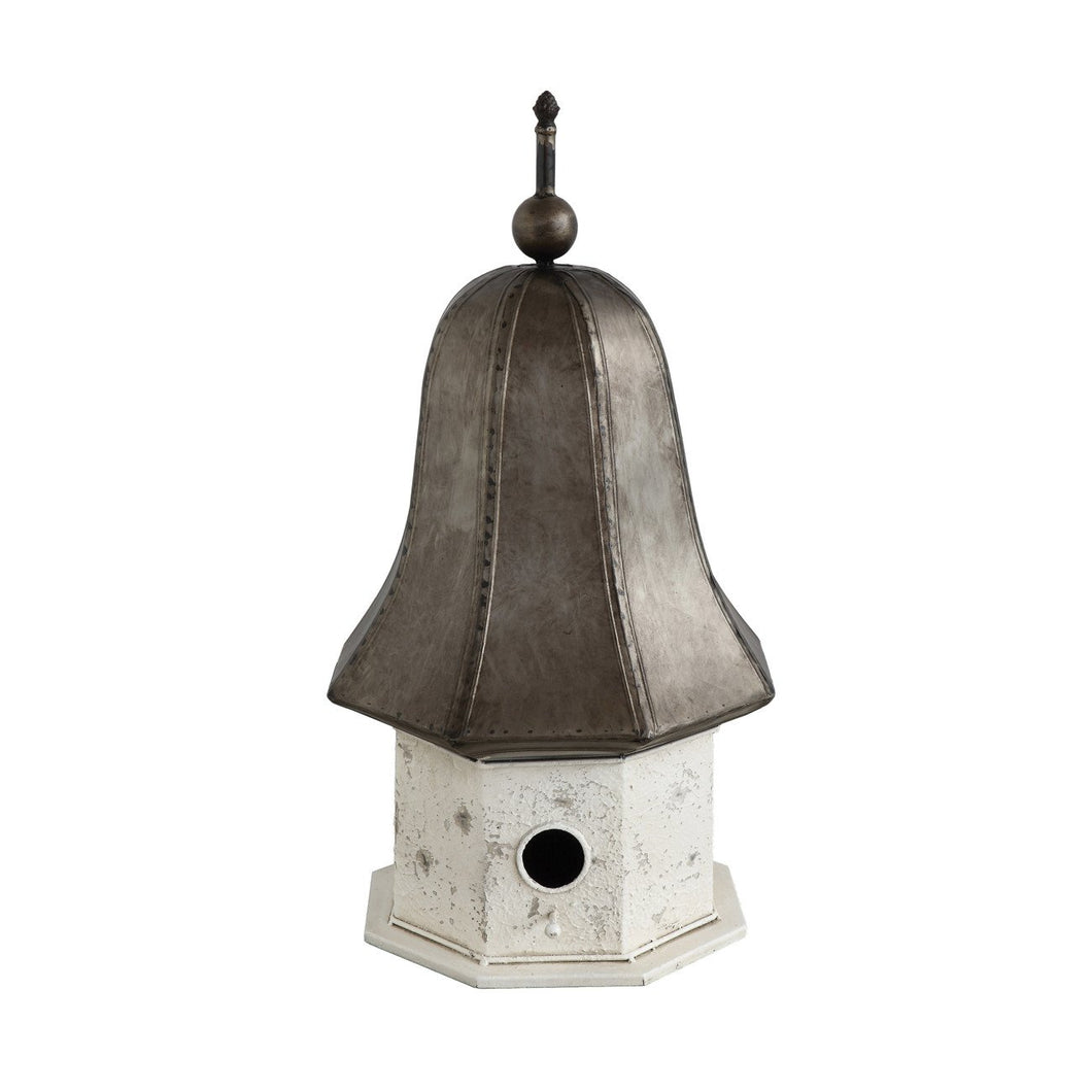 Distressed Cream & Bronze Decorative Metal Birdhouse