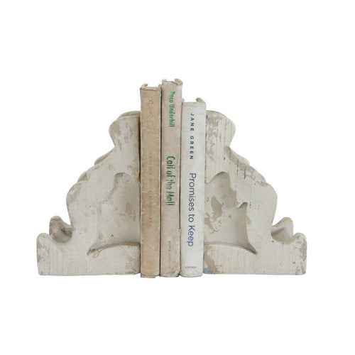 Distressed White Corbel Shaped Bookends Set of 2 Pieces