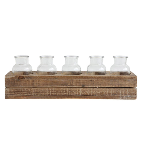 Wood Crate With 5 Glass Bottles Set of 6 Pieces