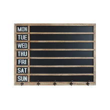 Load image into Gallery viewer, Weekday Wall Chalkboard with 5 Metal Hooks