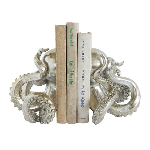 Octopus Shaped Silver Resin Bookends Set of 2 Pieces