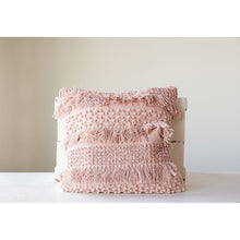 Load image into Gallery viewer, Square Pink Pillow with Fringe and Multiple Designs with Varied Textures