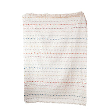 Load image into Gallery viewer, White Throw with Multicolor Embroidered Loop Stripes