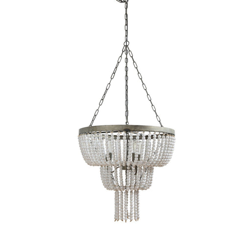 Metal Pendant Light with White Wood Beads