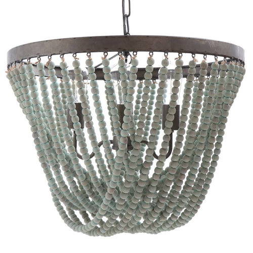 Metal Chandelier with Aqua Wood Beads