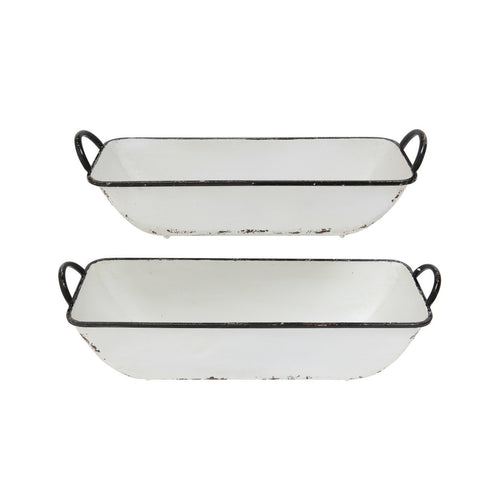 Set of 2 Distressed White Metal Containers