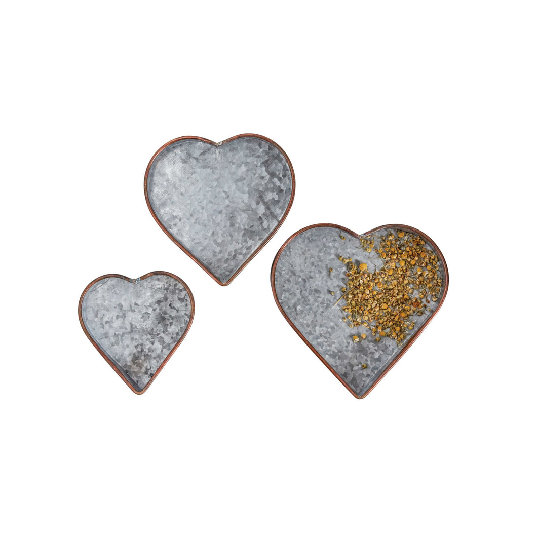 Heart Shaped Galvanized Metal Tray with Copper Rim (Set of 3 Sizes) Default Title